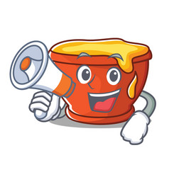 with megaphone honey character cartoon style vector image
