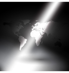 world map in rays of light background vector image vector image
