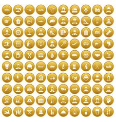 100 job icons set gold vector