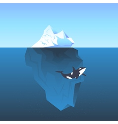 iceberg in the sea and killer whale vector image