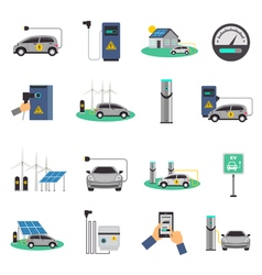 Electric car charging flat icons set vector