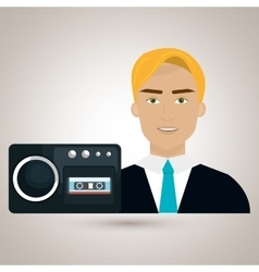 Man voice recorder news vector
