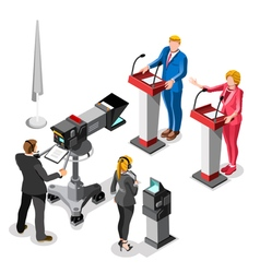 Election news infographic live video isometric vector