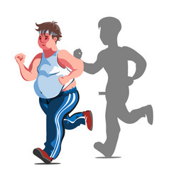 A fat cartoon man jogging vector