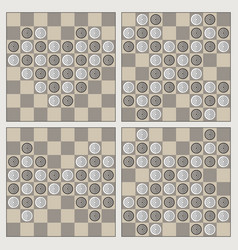 Four stylish figures of draughts heart cross vector