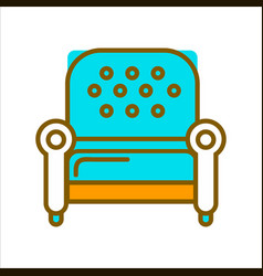 Stylish armchair with blue leather upholstery on vector
