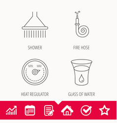 Shower fire hose and heat regulator icons vector