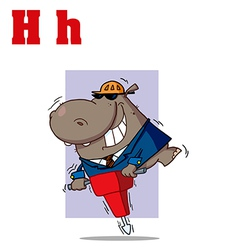 Hippo with jackhammer cartoon vector