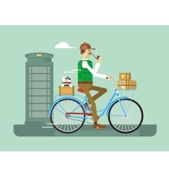 Retro postman on a bicycle vector