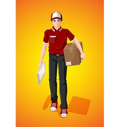 Delivery man with cardboard box vector