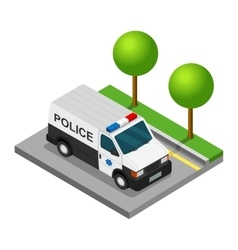 Police pickup van isometric 3d car truck vector