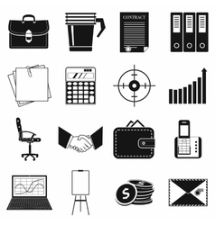 Business and office work icons set simple style vector