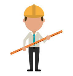 Architec man construction ruler large vector