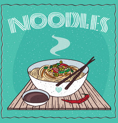 Asian noodles ramen or udon with vegetables vector