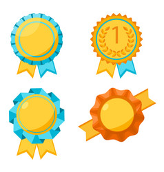 Award golden round signs collection elements for vector