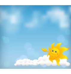 Blue sky background with fanny cartoon sun vector