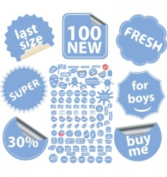 blue stickers vector image