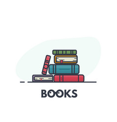 book pile line art vector image vector image