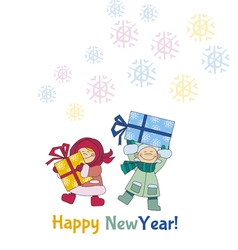 Boys and girls are holding gifts or present vector