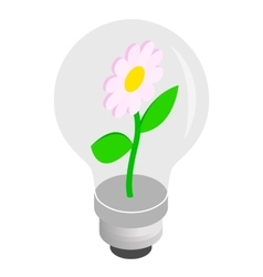 Bulb light with flower inside icon vector