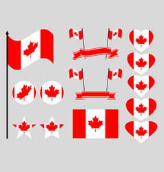 canada flag set collection of symbols flag vector image