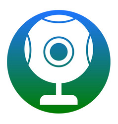 Chat web camera sign white icon in bluish vector