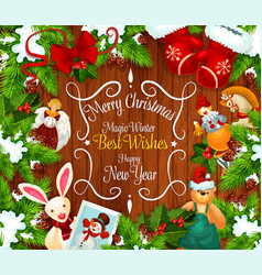 christmas or new year festive wreath greeting card vector image