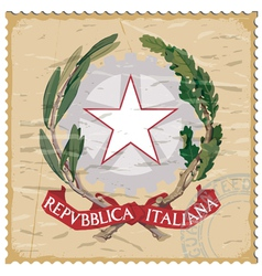 Coat of arms of Italy on the old postage stamp vector image