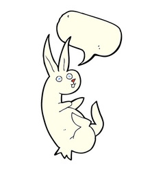 Cue cartoon rabbit with speech bubble vector