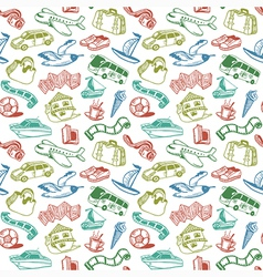 Doodle travel seamless pattern vector
