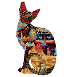 Egyptian patterns in cat vector