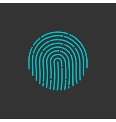 Flat fingerprint icon app vector