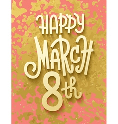 Gold leaf boho chic style march 8th greeting card vector