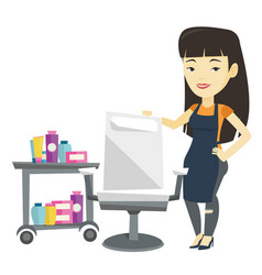 Hair stylist at workplace in barber shop vector