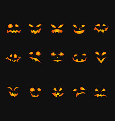 Halloween pumpkin smileys icon background set vector