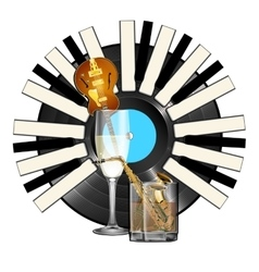 Jazz instruments glass with alcohol vinyl piano vector