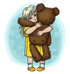 Little blond girl with teddy bear vector image