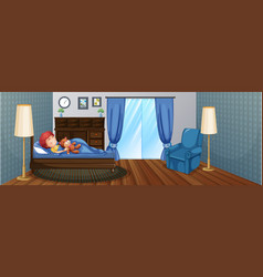 Little boy sleeping on bed vector