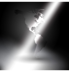 North and South America map in rays of light vector image
