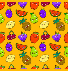seamless pattern colorful cute fruits characters vector image