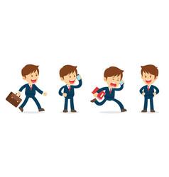 Set of businessman working character design flat vector