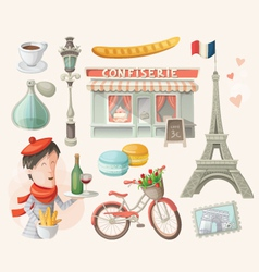 Set of french items vector image vector image
