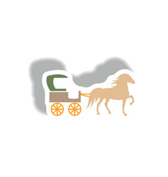 Stylish icon in paper sticker style carriage with vector