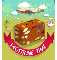 Vacation time with luggage and plane vector