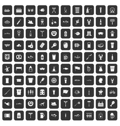 100 beer icons set black vector