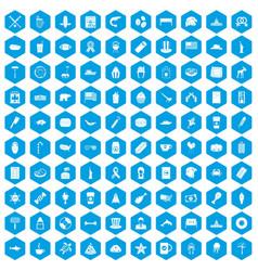 100 usa icons set blue vector