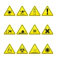 Yellow warning and danger signs collection vector image