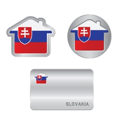 Home icon on the slovakia flag vector