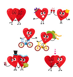 Two hearts doing funny activities together couple vector