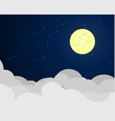 Cloudscape at night with full moon vector